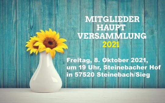 Einladung zur Mitgliederhauptversammlung am 08.10.21